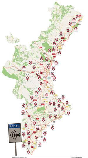 Resultado de imagen de MAPA DE RADARES DE LA COMUNIDAD VALENCIANA